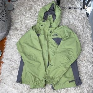 Green north face hyvent jacket